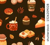 autumn desserts flat seamless... | Shutterstock .eps vector #1526209028