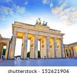 Stock photo sunset at brandenburg gate of berlin germany 152621906