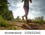 young lady running on a rural... | Shutterstock . vector #152622242