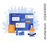 template for shopping online.... | Shutterstock .eps vector #1526243045