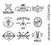 vintage labels with anchor, crown, arrow, hammer