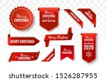 christmas tags set. red scrolls ... | Shutterstock .eps vector #1526287955