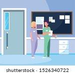 couple medicine workers with... | Shutterstock .eps vector #1526340722