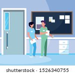 couple medicine workers with... | Shutterstock .eps vector #1526340755