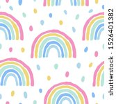 rainbows and dots cute seamless ...   Shutterstock .eps vector #1526401382