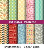 Stock vector retro patterns collection for making seamless wallpapers 152641886