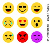 emoticons set isolated on white ... | Shutterstock .eps vector #1526476898