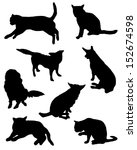 Stock vector collection of silhouettes of a cat and dog 152674598