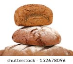 Pyramid of brown breads. - stock photo