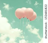 Four Vintage Pink Balloons Ove...