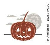 halloween pumpkin with face and ...   Shutterstock .eps vector #1526849102