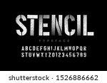 spray paint sctencil style font ... | Shutterstock .eps vector #1526886662