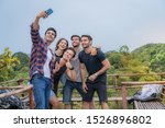 Group Friendship Hangout and selfies with outdoor