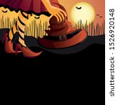 halloween poster design. girl... | Shutterstock .eps vector #1526920148