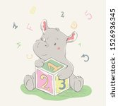 Stock vector lovely cute rhino sits and hugs a cube with numbers series of school children s card with cartoon 1526936345