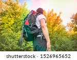 traveler man with red backpack... | Shutterstock . vector #1526965652