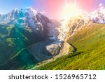 beautiful snow mountains and... | Shutterstock . vector #1526965712