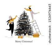 happy cartoon girls decorate... | Shutterstock .eps vector #1526976665