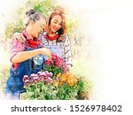 Abstract Colorful Mother And...