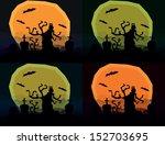 set of four halloween horror... | Shutterstock .eps vector #152703695