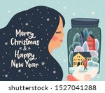christmas and happy new year... | Shutterstock .eps vector #1527041288