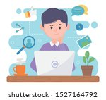 man with laptop network social... | Shutterstock .eps vector #1527164792