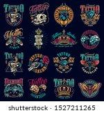 vintage tattoo studio emblems... | Shutterstock .eps vector #1527211265