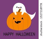ghost spirit hugs pumpkin....   Shutterstock .eps vector #1527218978