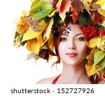 Autumn Woman. Beautiful Makeup...