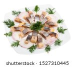 Stock photo marinated herring fillet with sliced onion and dill healthy food isolated over white background 1527310445