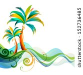 palms and waves   Shutterstock .eps vector #152736485