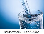 pouring water into glass on... | Shutterstock . vector #152737565