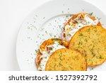 Stock photo potato pancakes with herring and onion 1527392792