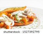 Stock photo potato pancakes with herring and onion 1527392795