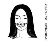 beautiful brunette woman... | Shutterstock .eps vector #1527476915