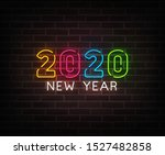 2020 new year neon background...   Shutterstock .eps vector #1527482858