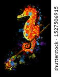 Brightly Colored Seahorse On A...