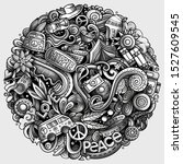 hippie hand drawn doodles... | Shutterstock . vector #1527609545