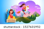 girl kid sleeping in bed  ... | Shutterstock .eps vector #1527631952