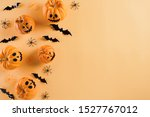 top view of halloween crafts ... | Shutterstock . vector #1527767012