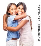 girls hugging each other on a... | Shutterstock . vector #152781662