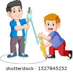two boy using a big compass and ... | Shutterstock .eps vector #1527845252