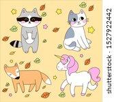 vector set of cute animals.... | Shutterstock .eps vector #1527922442