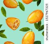 exotic fruit kumquat with green ...   Shutterstock .eps vector #1527967325