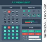 flat ui web design elements set ...