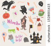 set of cute halloween icons ... | Shutterstock .eps vector #1528001615