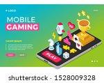 mobile gaming isometric design. ...   Shutterstock .eps vector #1528009328