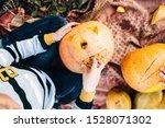 Children Playing With Pumpkin...
