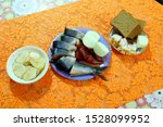 Stock photo still life potatoes with fish herring with onions and radish with bacon 1528099952