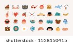 various people's faces  tasty... | Shutterstock .eps vector #1528150415